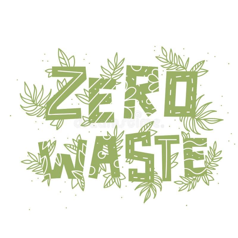 Desperdício e plantas zero do texto no fundo branco ilustração stock