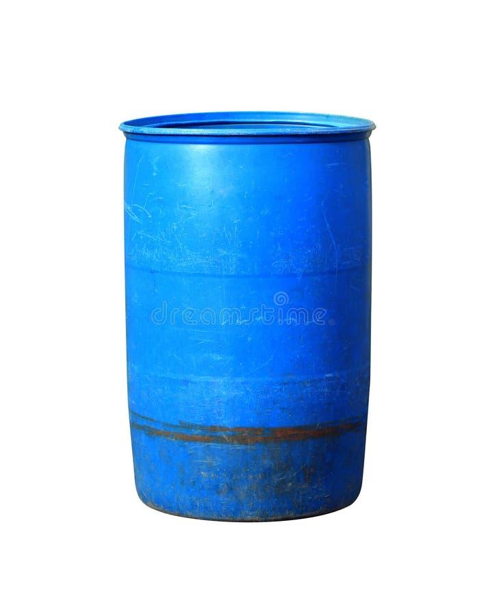 Desperdício plástico azul velho da cubeta, cubeta plástica para a água, plástico para o escaninho Waste isolado no fundo branco imagens de stock royalty free