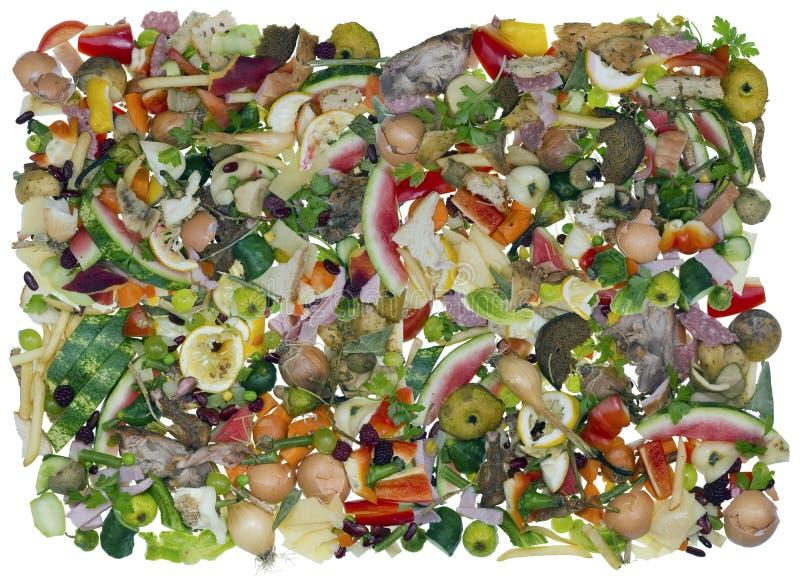 Desperdícios de alimento da cozinha como o fundo imagem de stock royalty free