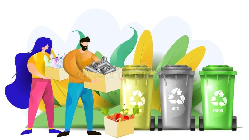 Desperdícios do jogo da mulher e do homem plásticos, orgânicos e do metal nos escaninhos de reciclagem fotos de stock royalty free