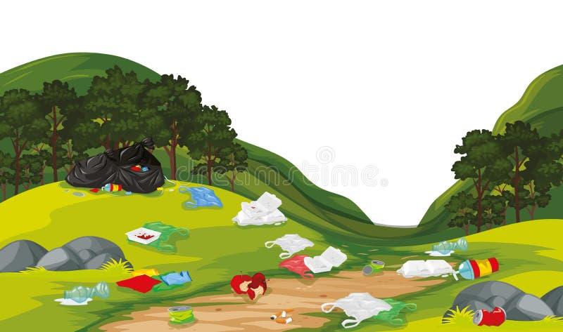 Desperdícios na cena do parque ilustração do vetor