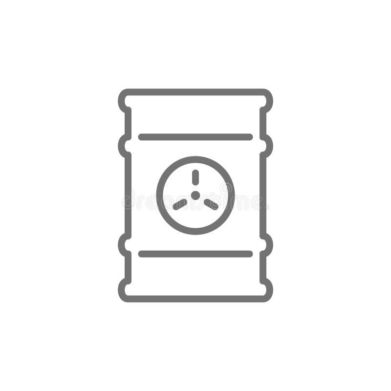 Desperdice o tambor, recipiente tóxico, linha ícone dos resíduos radioativos ilustração stock