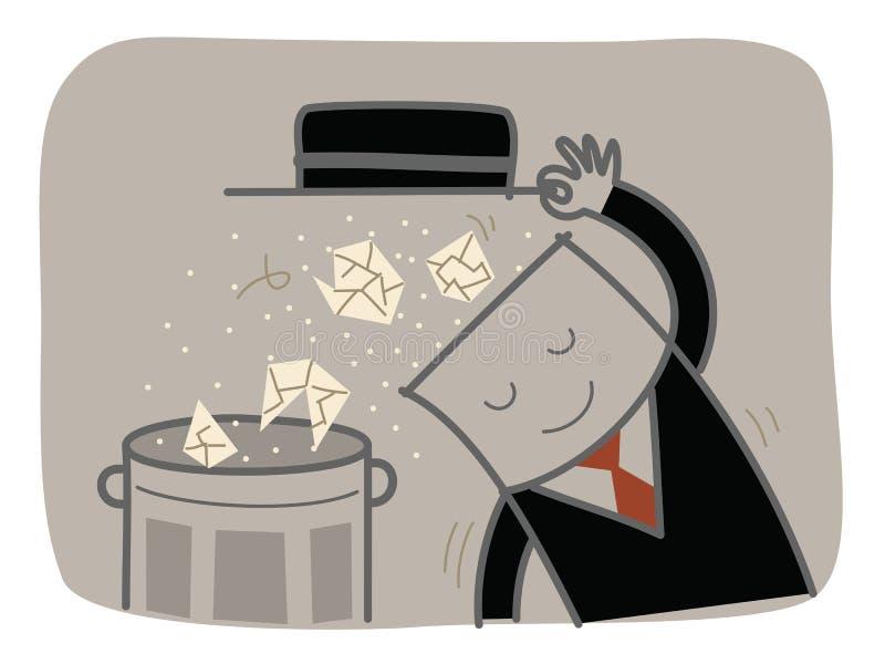 Desperdicios claros del hombre de negocios stock de ilustración