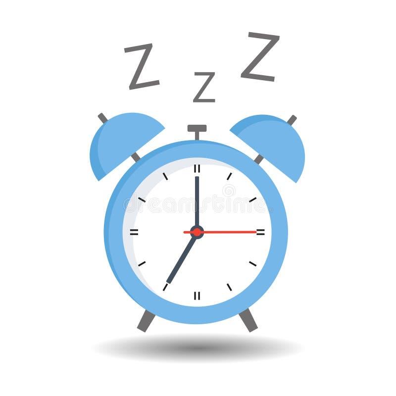 Despertador azul en el fondo blanco con la sombra ilustración del vector