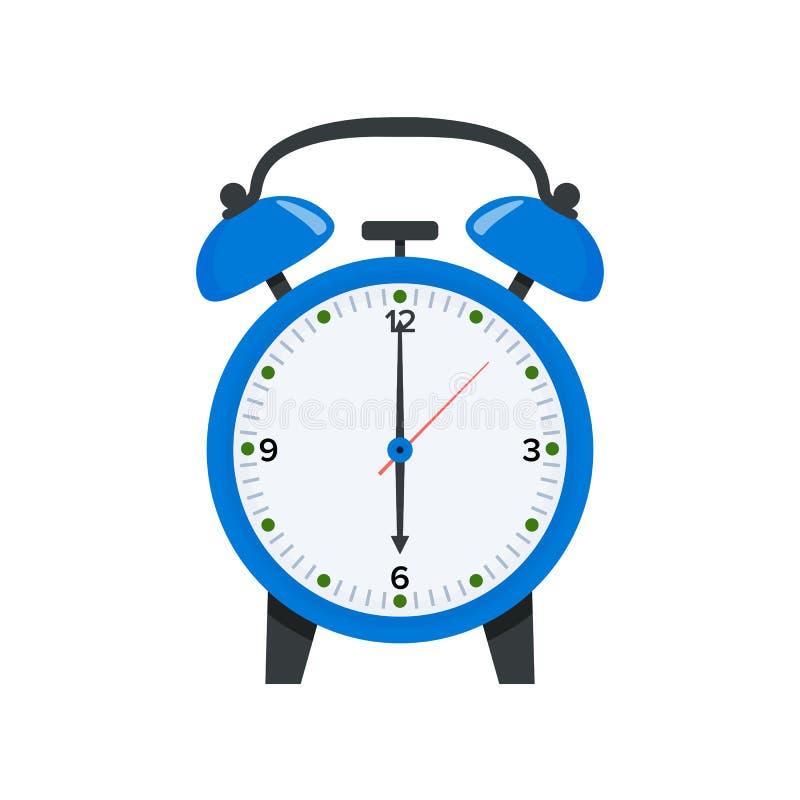 Despertador azul que exhibe seis relojes de o en el ejemplo plano del estilo Despierte el s?mbolo icono del reloj de 6 o stock de ilustración