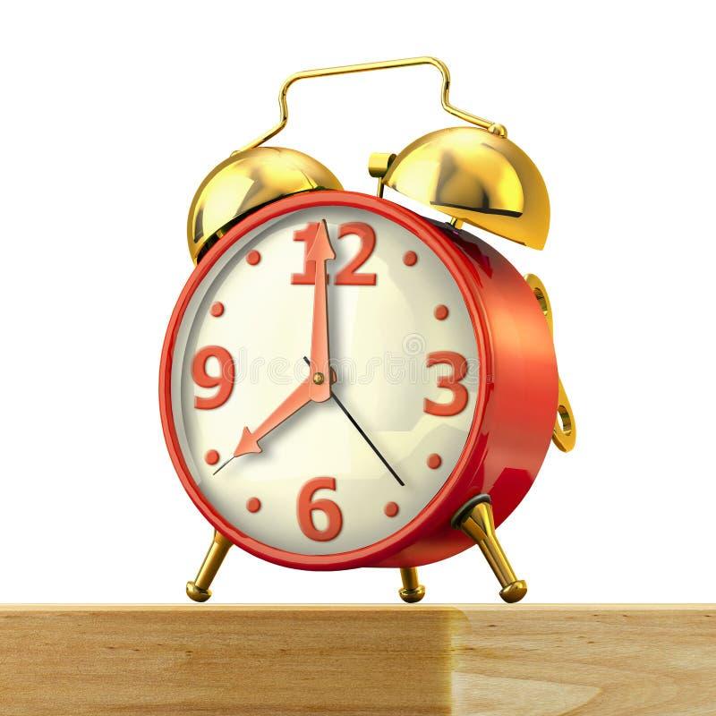 Despertador clásico con el cuerpo rojo y las campanas de oro, en una tabla. ilustración del vector