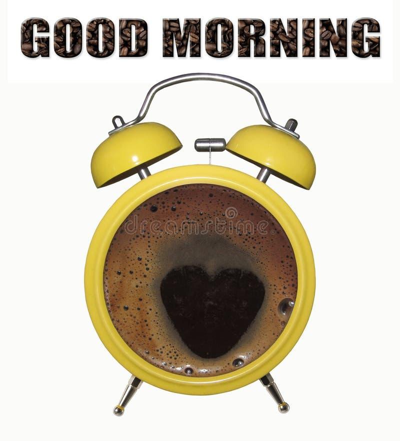 Despertador com café fotografia de stock