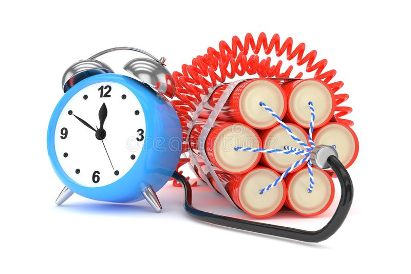 Despertador con dinamita representación 3d ilustración del vector