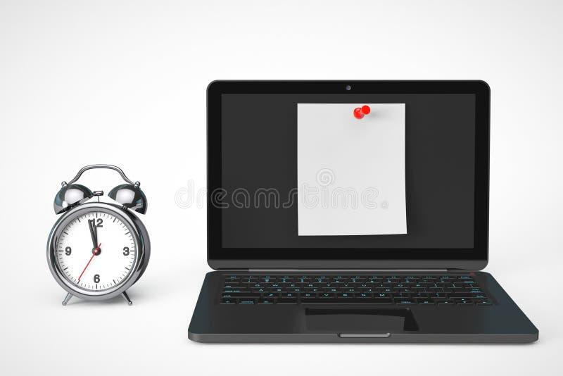 Despertador con el ordenador portátil y el papel de nota en blanco fotos de archivo
