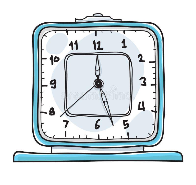Despertador del vintage Illu lindo dibujado del vector del arte de la mano de reloj de tabla stock de ilustración