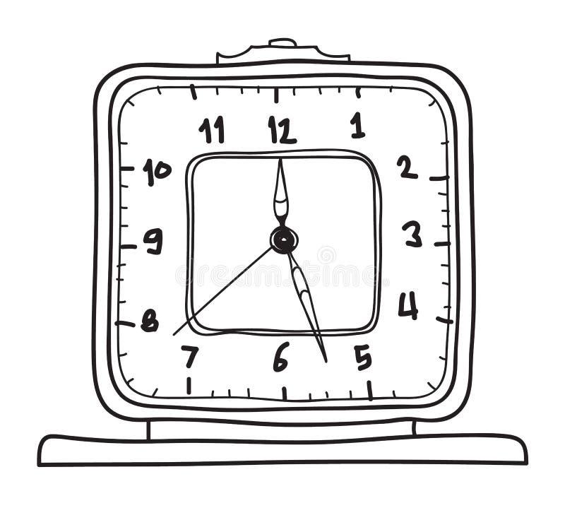 Despertador del vintage Línea exhausta ejemplo lindo de la mano de reloj de tabla del vector del arte libre illustration
