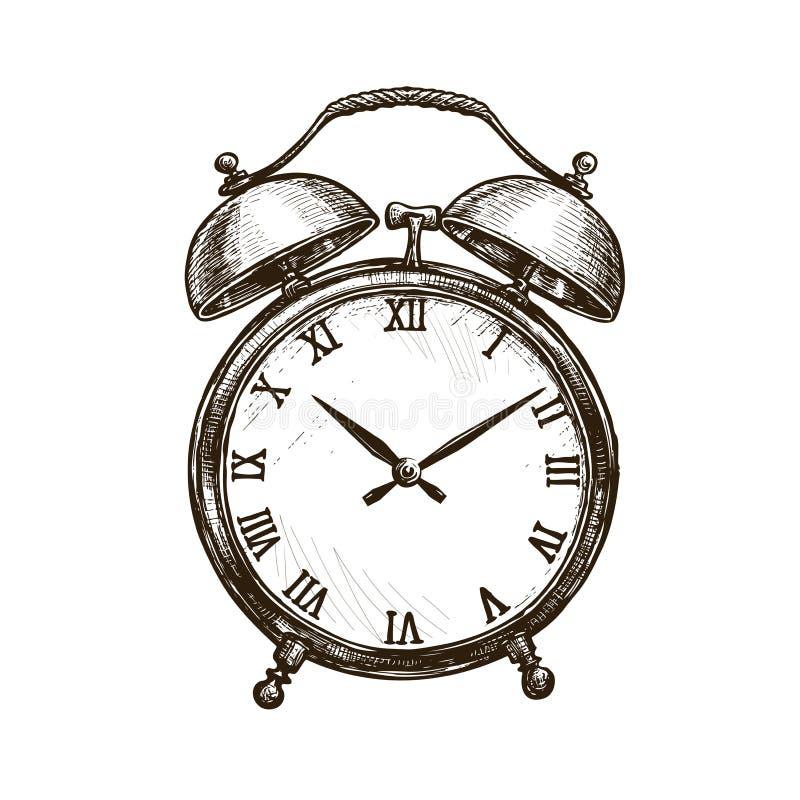 Despertador del vintage Mida el tiempo del concepto Ejemplo del vector del bosquejo stock de ilustración