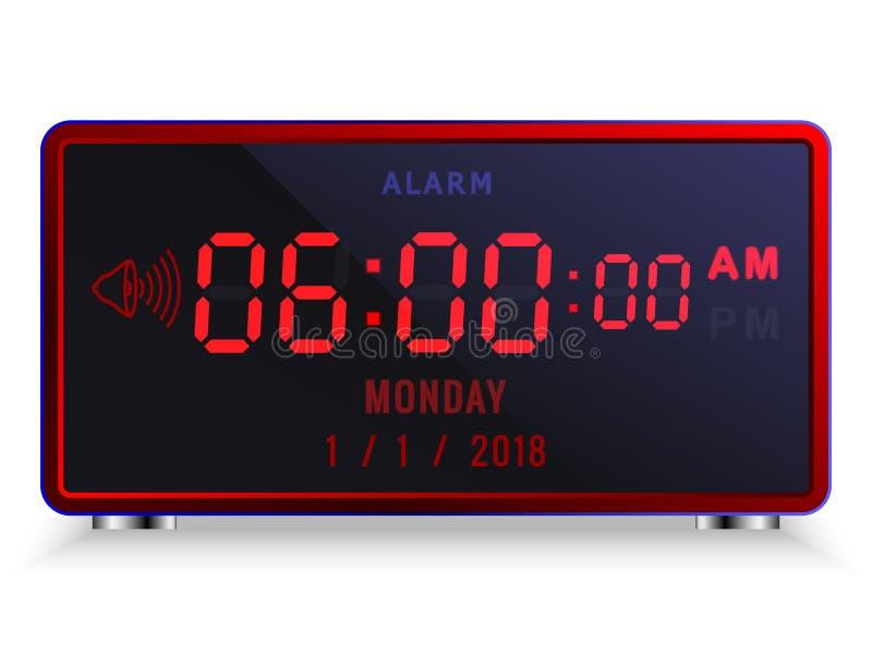 Despertador digital moderno del LED con el calendario fotografía de archivo libre de regalías