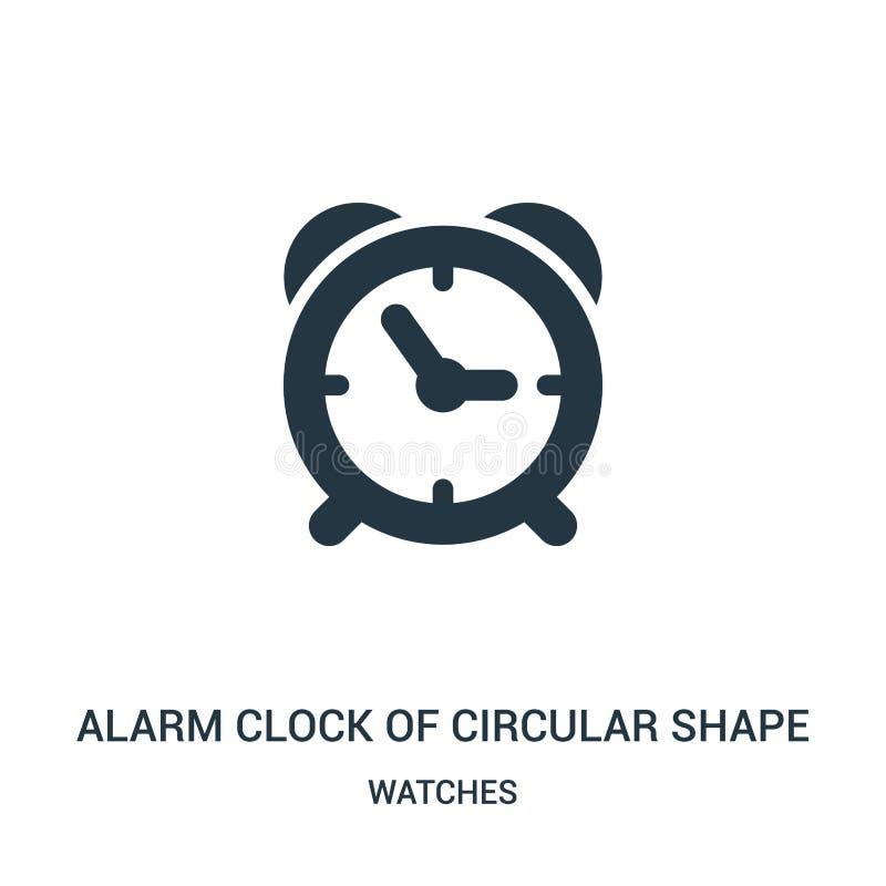 despertador do vetor do ícone da forma circular da coleção de relógios Linha fina despertador de vetor do ícone do esboço da form ilustração stock