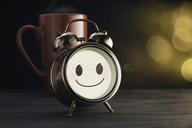 Despertador e caneca marrom com um sorriso feliz ilustração do vetor