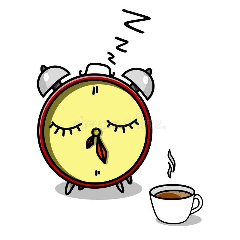 Despertador e xícara de café conservados em estoque da ilustração ilustração do vetor