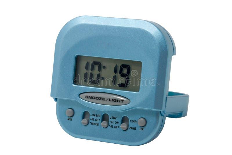 Despertador eletrônico azul isolado fotografia de stock royalty free