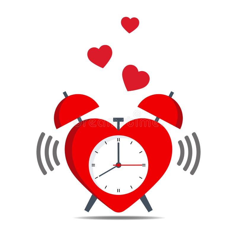 Despertador en forma de corazón rojo en un fondo blanco libre illustration