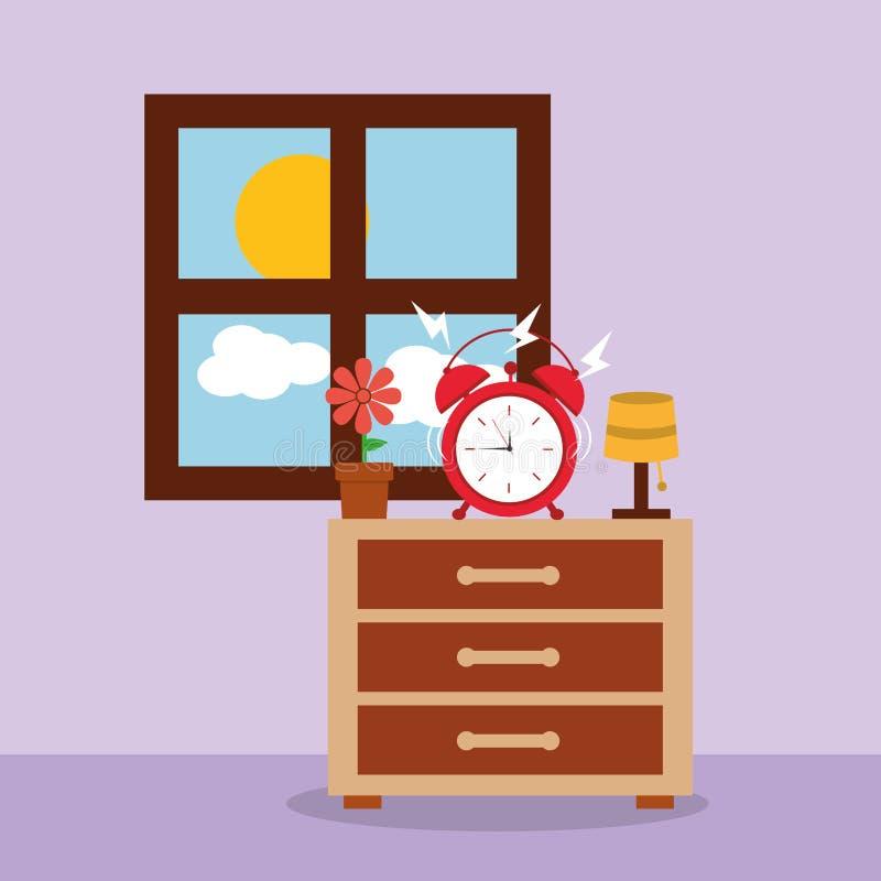 Despertador en ventana de la mañana de la alarma de la mesita de noche stock de ilustración