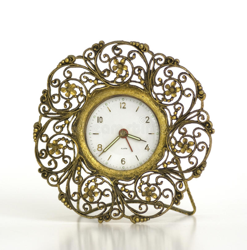 Despertador Filigree do ouro do vintage imagem de stock