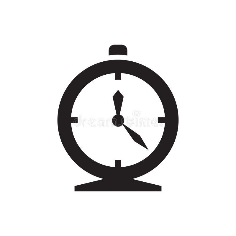 Despertador - icono negro en el ejemplo blanco del vector del fondo Muestra del tiempo Símbolo abstracto para el uso, página web  ilustración del vector