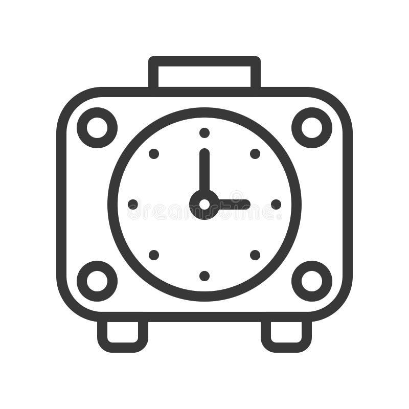 Despertador, pixel editable del movimiento del diseño del esquema perfecto stock de ilustración