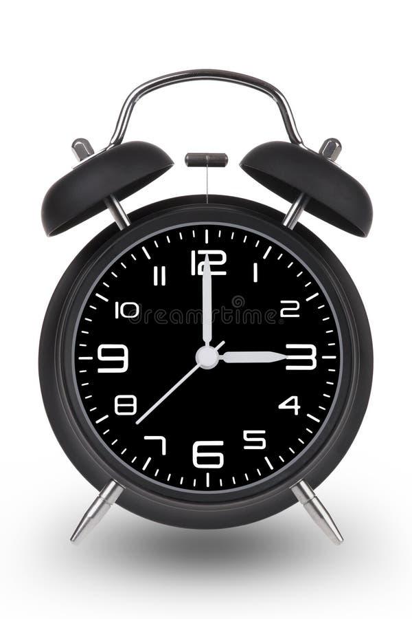 Despertador preto com mãos em 3 am ou pm no CCB branco ilustração royalty free