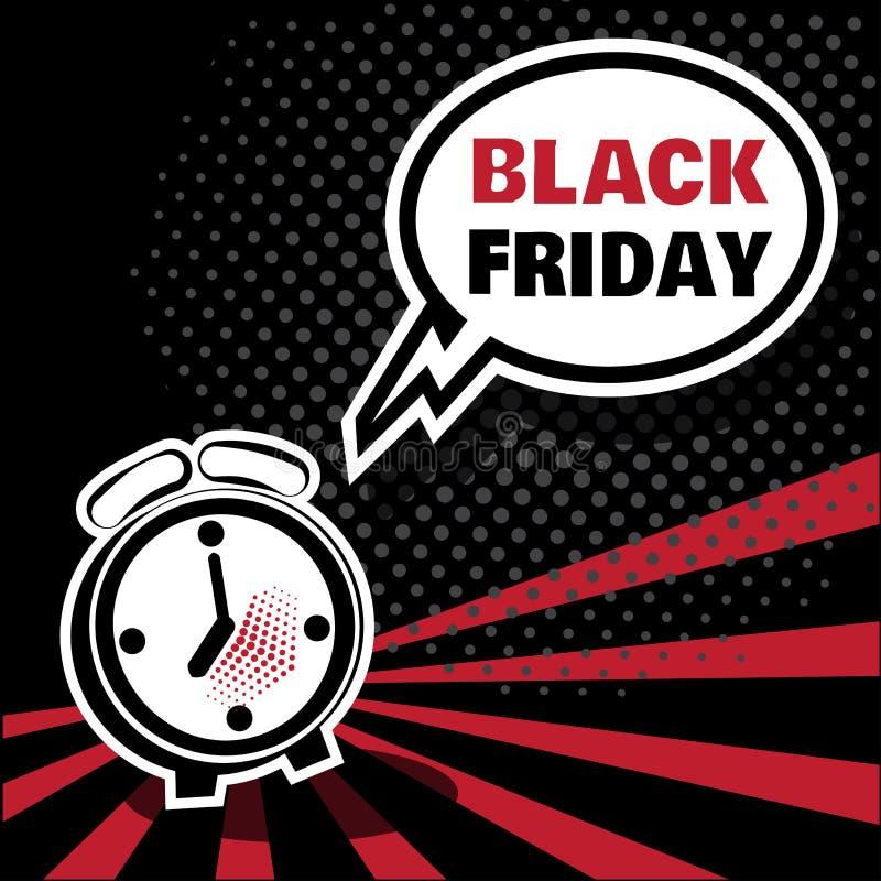 Despertador preto e branco e bolha cômica com inscrição BLACK FRIDAY Ilustra??o do vetor no PNF Art Style ilustração stock