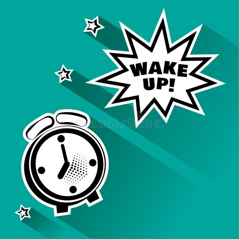 Despertador preto e branco e bolha cômica do discurso com inscrição PARA ACORDAR, e estrelas Ilustra??o do vetor no PNF Art Style ilustração stock
