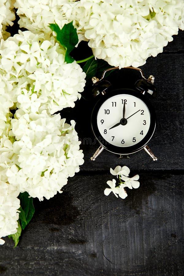 Despertador preto e flores brancas no fundo preto Dia da mãe ou das mulheres ano novo feliz 2007 Mola do café da manhã do bom dia fotos de stock royalty free