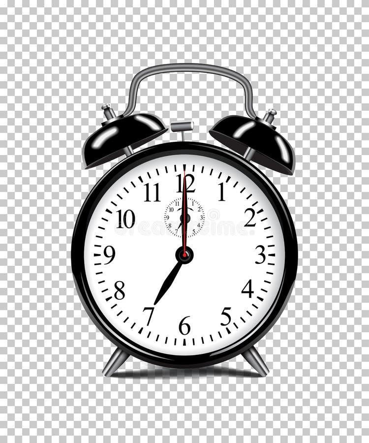 Despertador preto isolado no fundo transparente ilustração realística do vetor ilustração do vetor