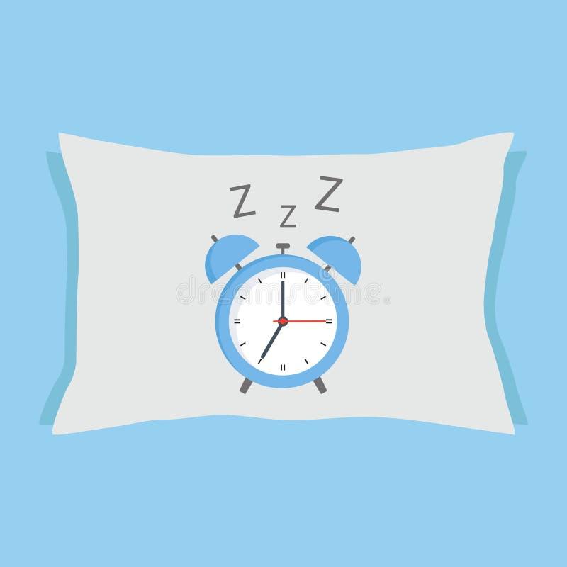Despertador que duerme en la almohada en un fondo azul libre illustration
