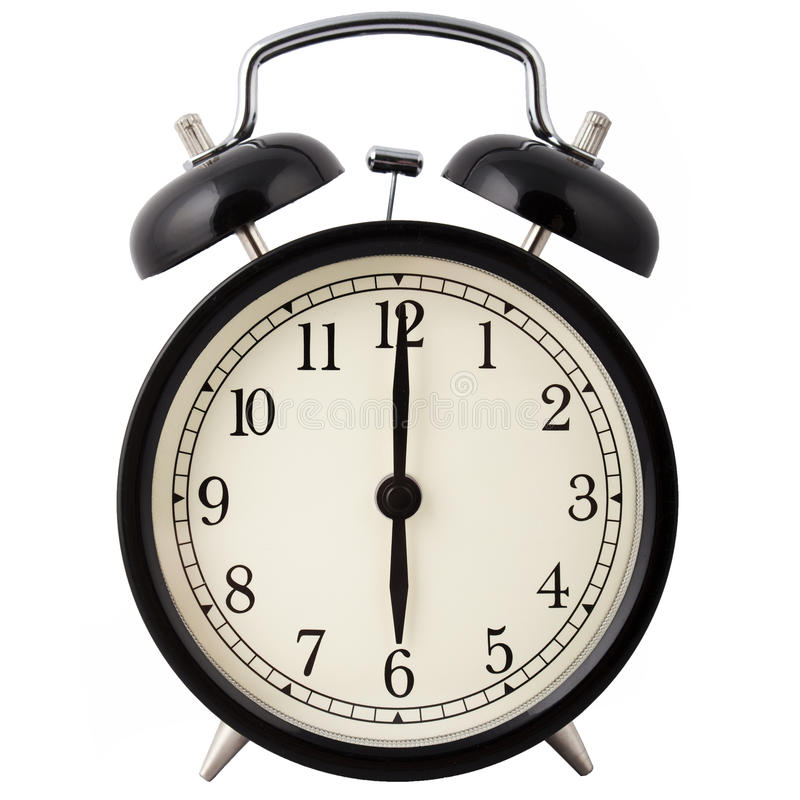 Despertador que mostra seis horas. fotos de stock royalty free