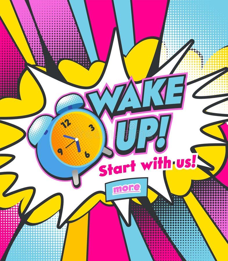 Despertador que soa em meia Tone Dotted Background colorida Corredor colorido e Bell do relógio do vintage a acordar na manhã ilustração stock