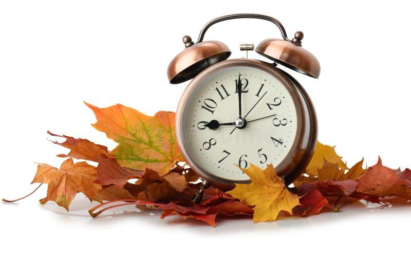 Despertador retro en hojas de otoño imágenes de archivo libres de regalías