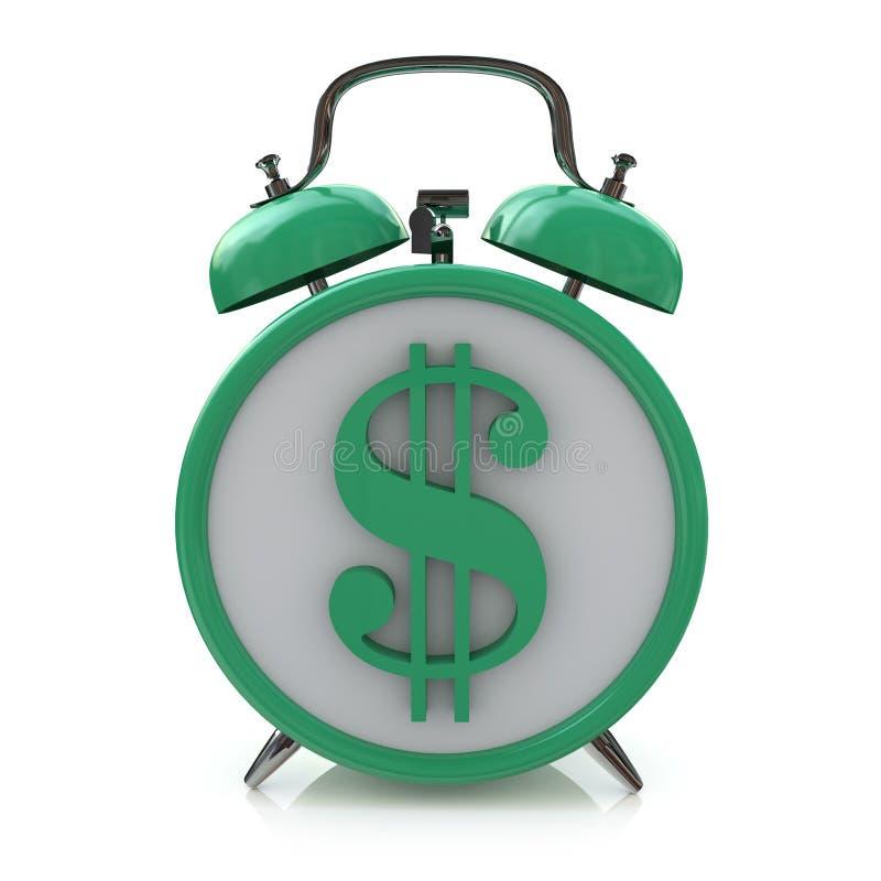 Despertador verde com símbolo do dólar no mostrador de relógio Tempo é dinheiro ilustração do vetor