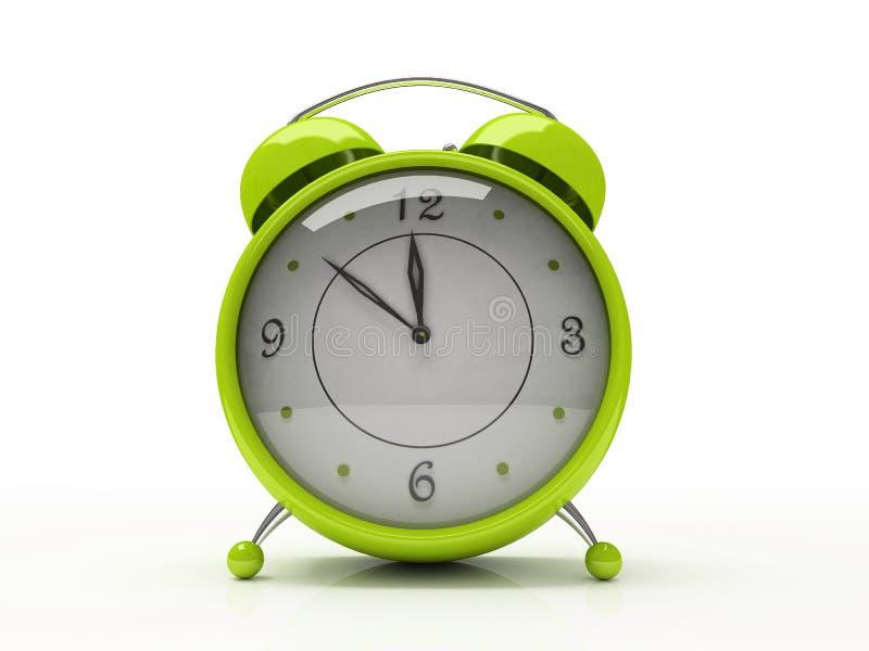 Despertador verde isolado no fundo branco 3D ilustração do vetor