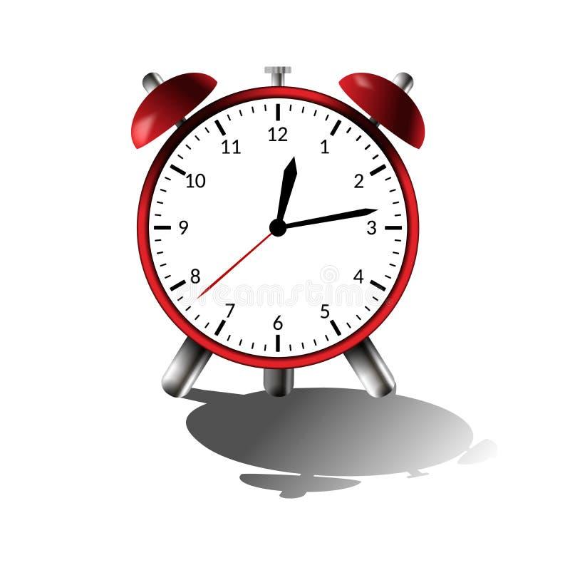 Despertador vermelho com sombra Ilustração do vetor Horas pretas ilustração stock