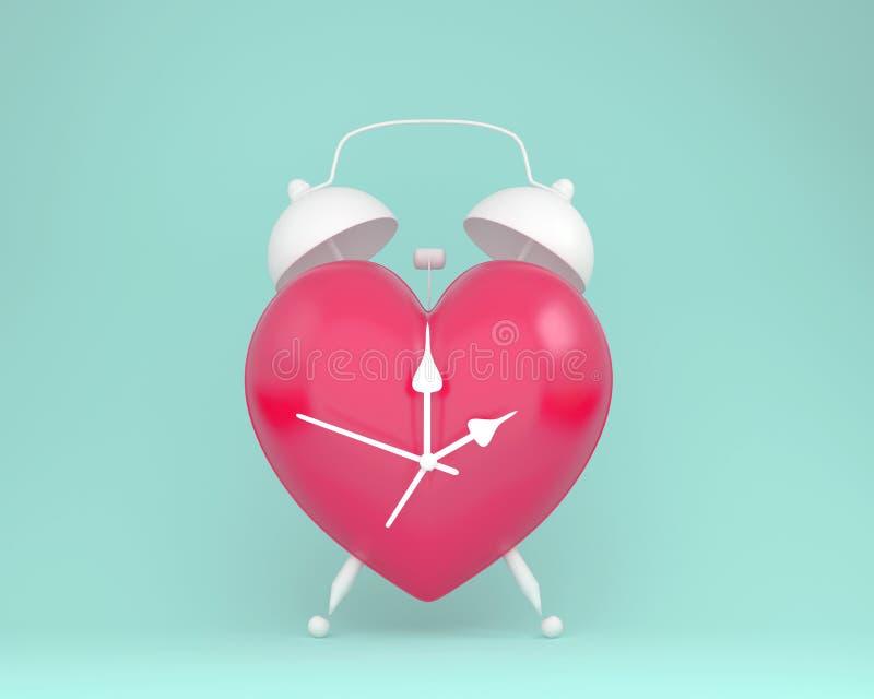 Despertador vermelho do coração da disposição criativa da ideia no backgr azul pastel ilustração stock