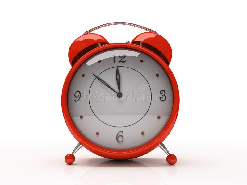 Despertador vermelho isolado no fundo branco 3D ilustração royalty free