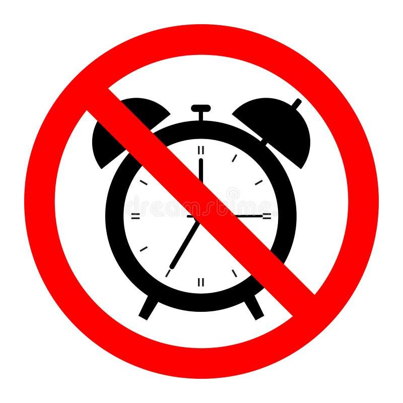 Despertador viejo, símbolo linear con el esquema Objeto no permitido, negro en la señal de peligro roja, icono simple ilustración del vector