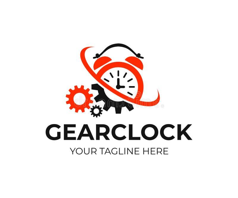 Despertador y engranajes con la torsión y el torbellino, diseño del logotipo Tiempo, mecanismo, industria e ingeniería, diseño de ilustración del vector