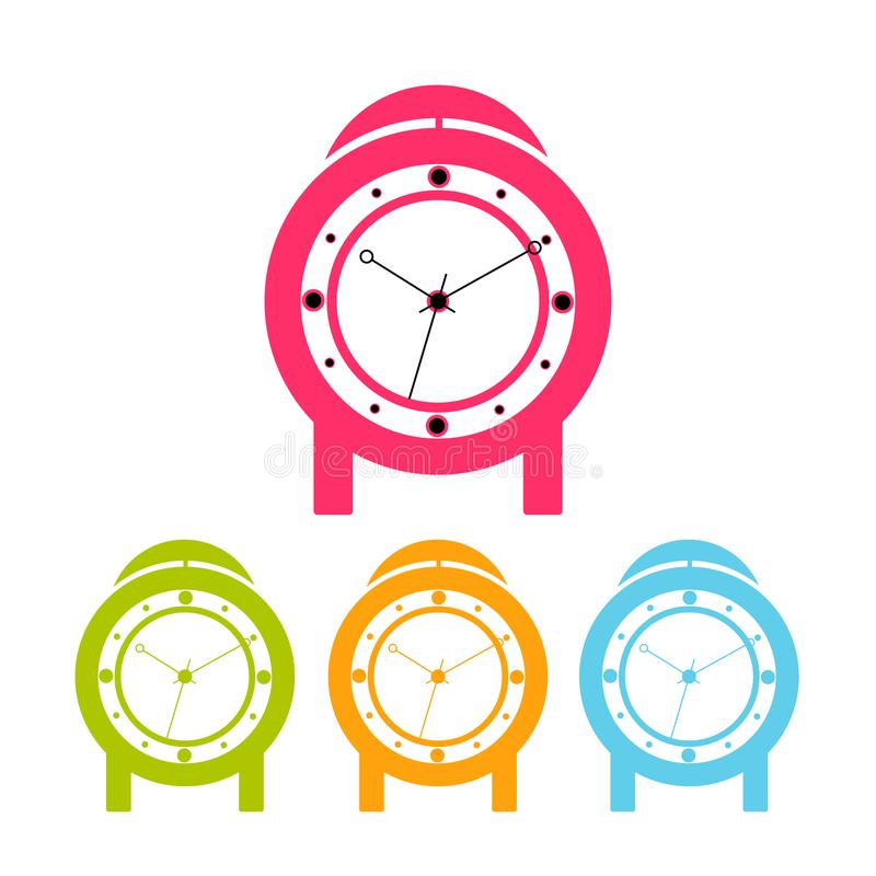 Despertadores coloreados, aislados en un fondo blanco Un sistema de diversos relojes Ilustración del vector stock de ilustración
