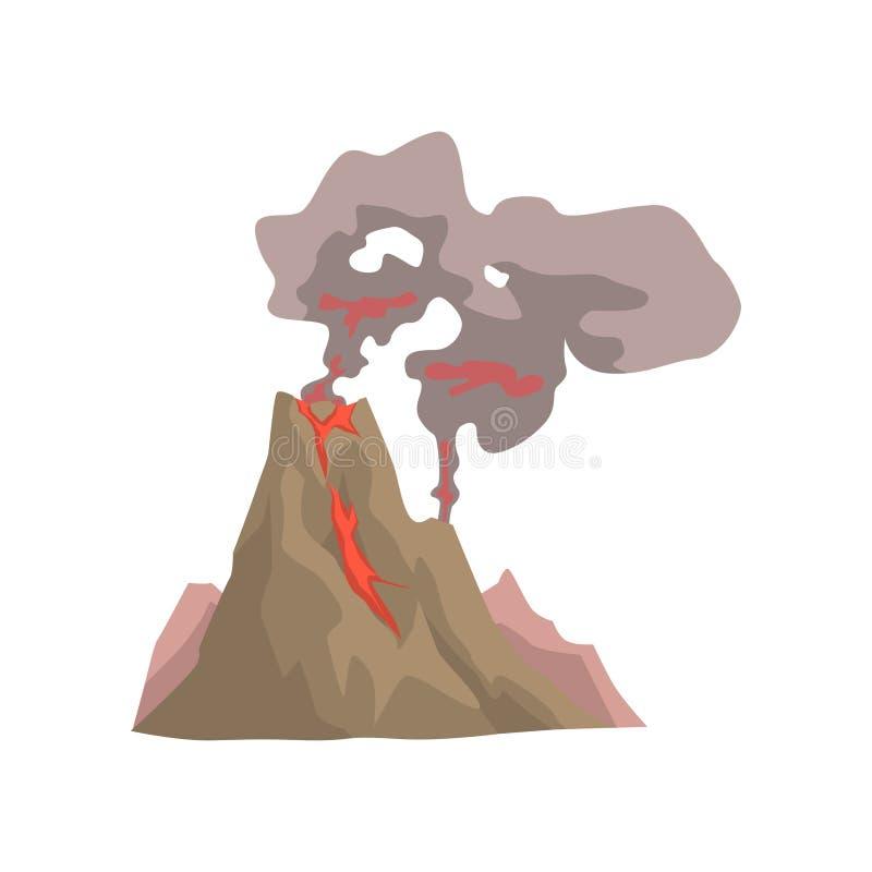 Despertar la erupción vulcan, volcánica peligrosa con el ejemplo del vector de la nube de polvo stock de ilustración