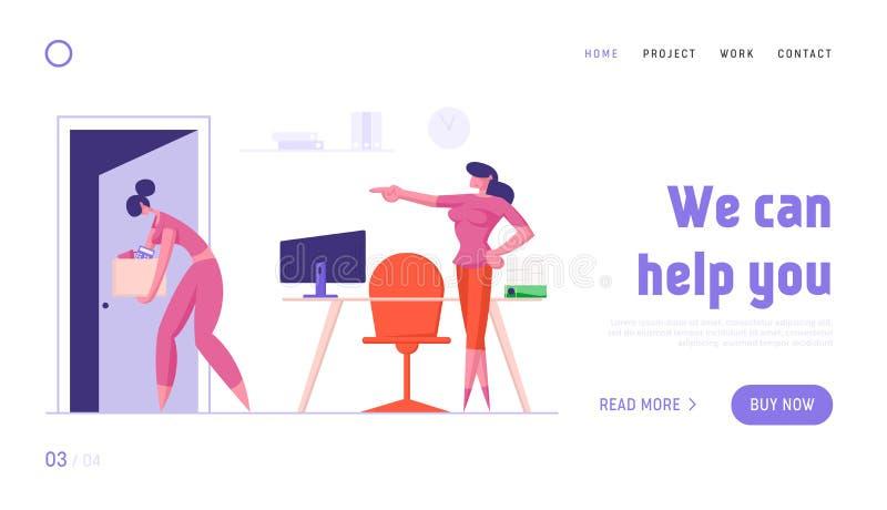 Despiden a empleada de la página web de aterrizaje de trabajo Triste chica sostiene una caja que sale de la puerta abierta con un ilustración del vector