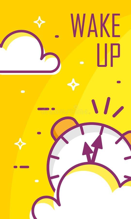 Despierte el cartel con el despertador y las nubes en fondo amarillo stock de ilustración
