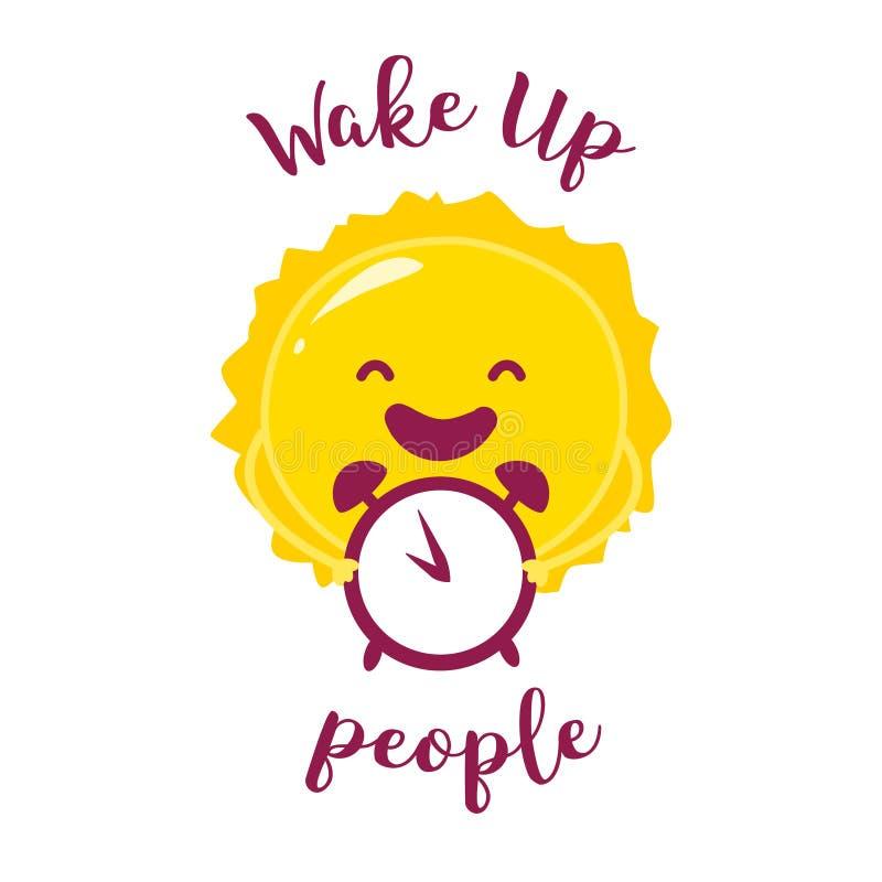 Despierte el cartel con el sol y el despertador divertidos Ilustración del vector ilustración del vector