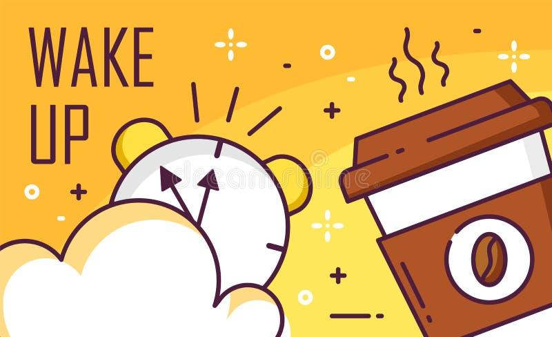 Despierte el cartel con la nube, el despertador y la taza de café en fondo amarillo Línea fina diseño plano Vector stock de ilustración