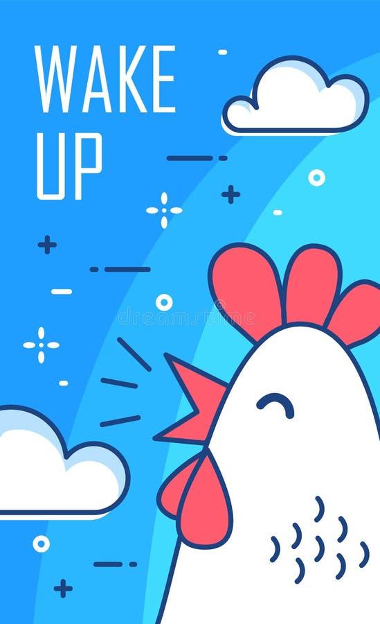 Despierte el cartel con las nubes y el gallo en fondo azul Línea fina diseño plano Vector stock de ilustración
