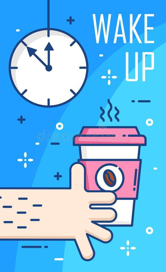 Despierte el cartel con el reloj, la mano y la taza de café en fondo azul Línea fina diseño plano Vector libre illustration